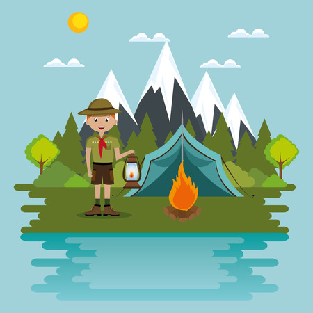 young scout in the camping zone scene vector illustration design Banco de Imagens - 115013597