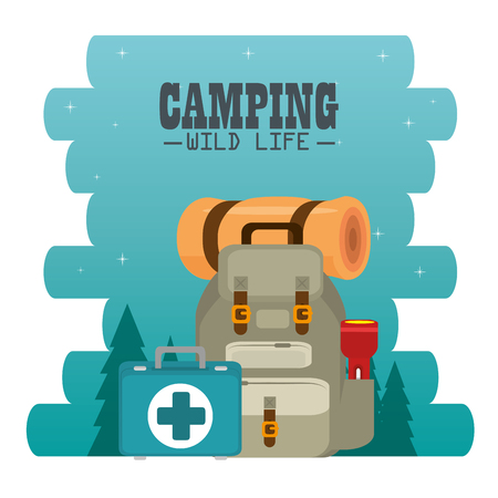 camping zone with equipment vector illustration design Ilustração