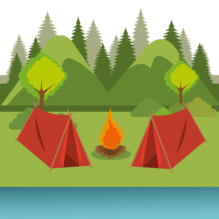 camping zone with tent and campfire vector illustration design