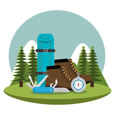 camping zone with equipment vector illustration design  イラスト・ベクター素材