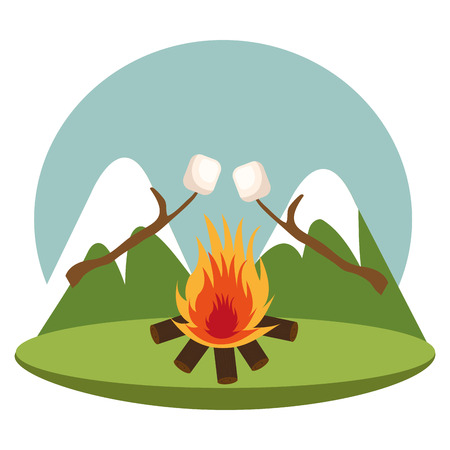 camping zone with campfire vector illustration design