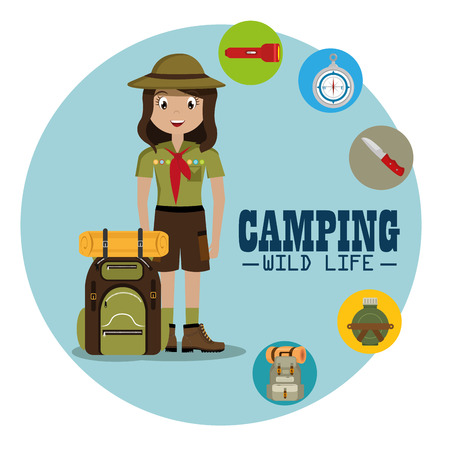 lady scout with camping equipment vector illustration design