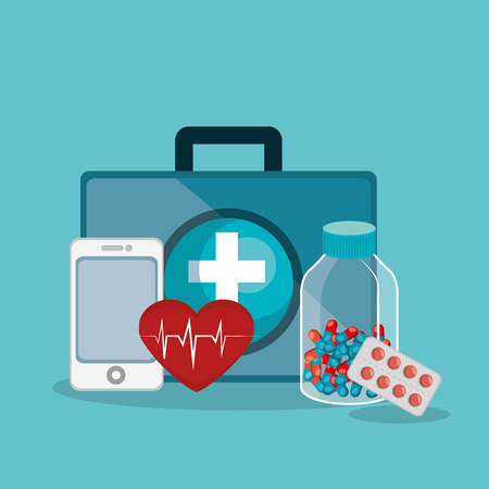 medical healthcare with set icons vector illustration design