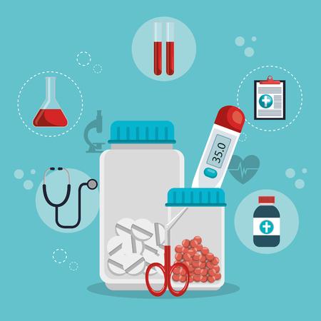 medische gezondheidszorg met decorontwerp iconen vector illustratie