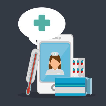 tele medicine online with smartphone vector illustration design