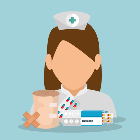 nurse with medical equipment vector illustration design