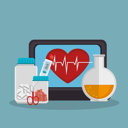 tele medicine online with desktop vector illustration design