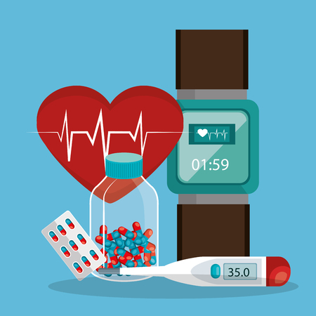tele medicine online with smartwatch vector illustration design Illustration