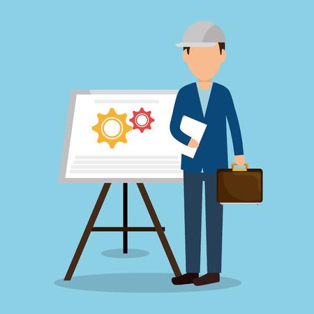 Ingeniero con iconos en construcción, diseño de ilustraciones vectoriales
