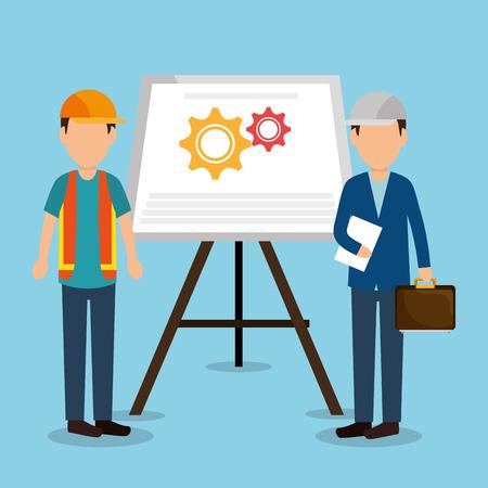 Trabajadores de la construcción con iconos en construcción, diseño de ilustraciones vectoriales