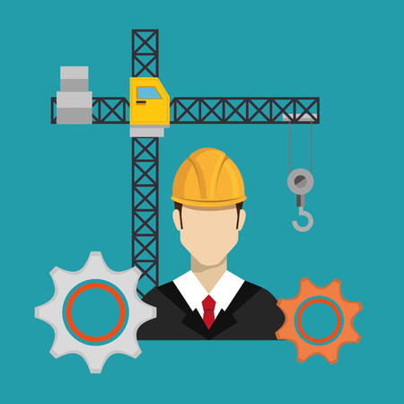 construction worker with under construction icons vector illustration design Ilustração