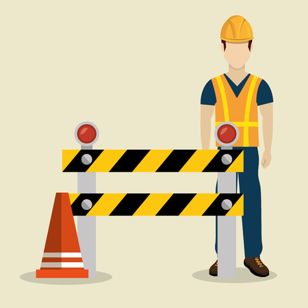construction worker with under construction icons vector illustration design Vectores