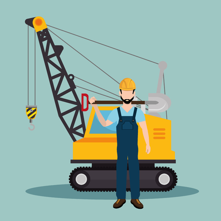 construction worker with under construction icons vector illustration design Standard-Bild - 115013632