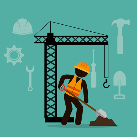 construction worker with under construction icons vector illustration design Standard-Bild - 115013635