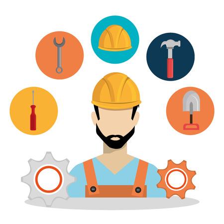 construction worker with under construction icons vector illustration design Standard-Bild - 104480111