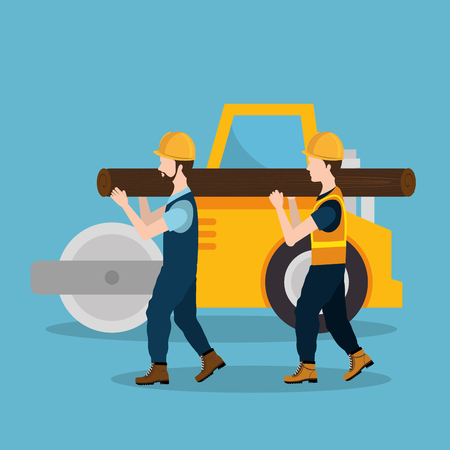 construction workers with under construction icons vector illustration design Standard-Bild - 104480199