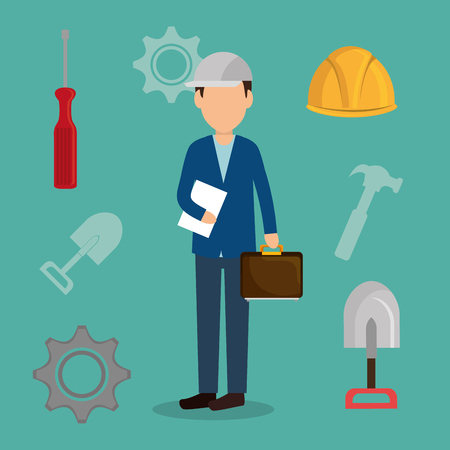 engineer with under construction icons vector illustration design