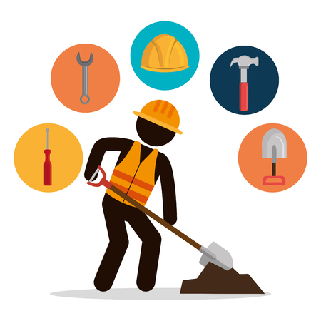 construction worker with under construction icons vector illustration design Иллюстрация