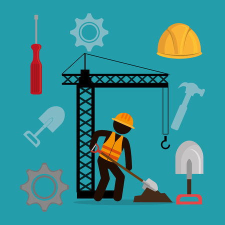construction worker with under construction icons vector illustration design Standard-Bild - 104480202