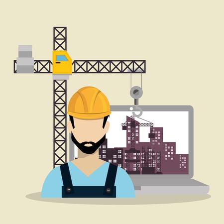 worker under construction with laptop vector illustration design