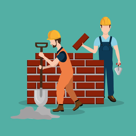 construction workers with under construction icons vector illustration design Standard-Bild - 104480158