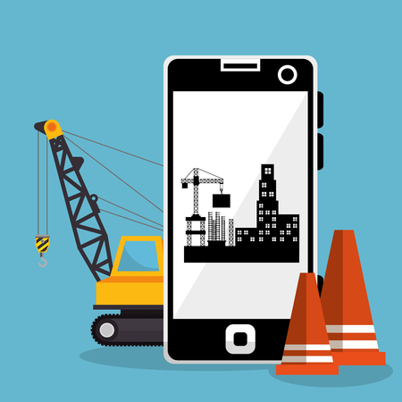 worker under construction with smartphone vector illustration design
