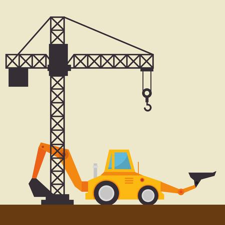 excavator machine with under construction icon vector illustration design
