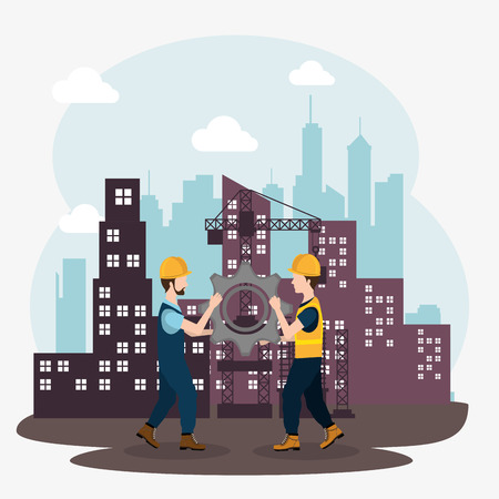 construction workers with under construction icons vector illustration design