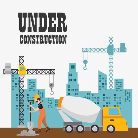 Trabajador de la construcción con los iconos de la construcción, diseño de ilustraciones vectoriales