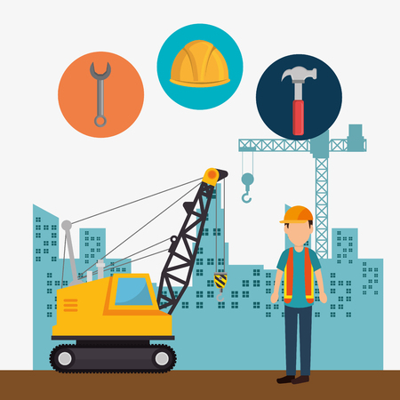 Trabajador de la construcción con los iconos de la construcción, diseño de ilustraciones vectoriales Ilustración de vector