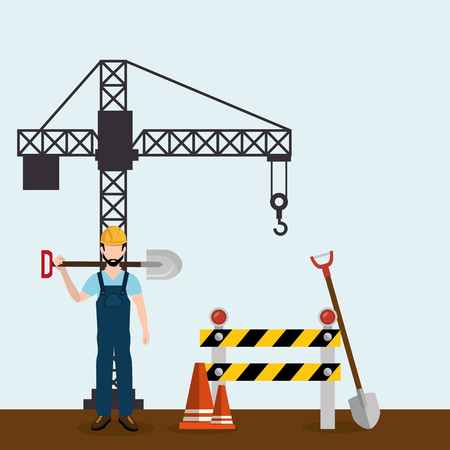 worker with under construction icons vector illustration design