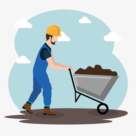 Travailleur de la construction avec des icônes en construction vector illustration design