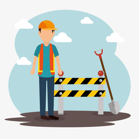 construction worker with under construction icons vector illustration design Illustration