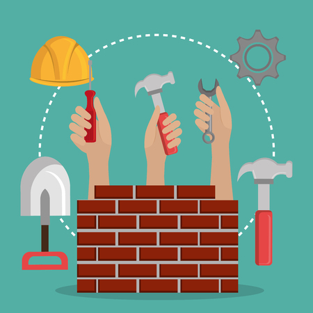 hands workers with under construction icons vector illustration design