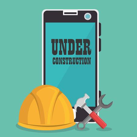 webpage under construction with smartphone vector illustration design Illustration