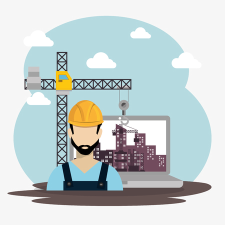 worker under construction with laptop vector illustration design