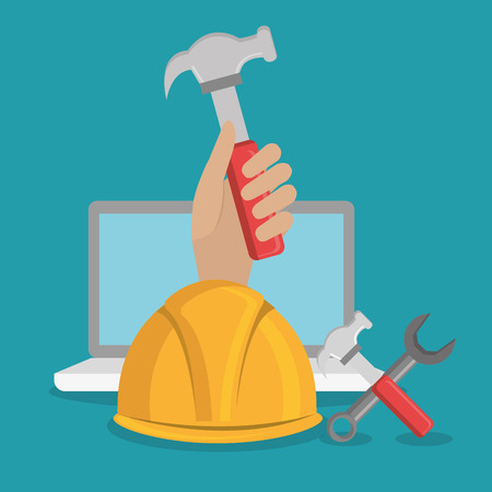 hand worker under construction with laptop vector illustration design