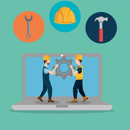 workers under construction with laptop vector illustration design