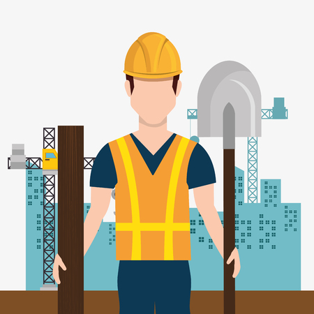 construction worker with under construction icons vector illustration design Ilustração