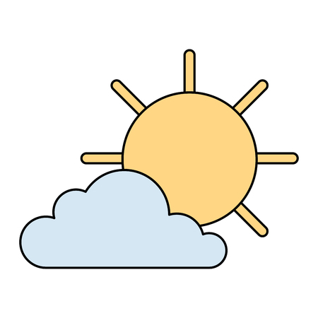 cloud with sun weather icon vector illustration design Ilustração