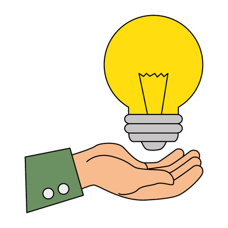 hand with bulb light energy vector illustration design