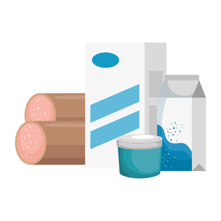 fresh salami with milk box and food vector illustration design 向量圖像