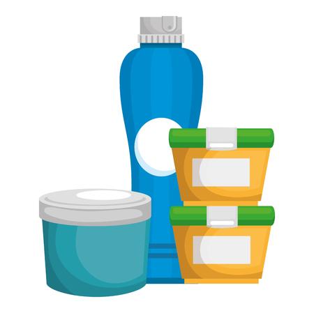 set bottles products icon vector illustration design  イラスト・ベクター素材
