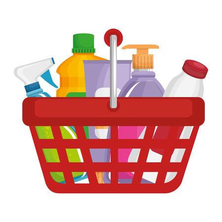 shopping basket with supermarket products vector illustration design Çizim