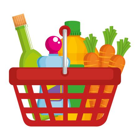 Cesta de la compra con productos de supermercado, diseño de ilustraciones vectoriales Ilustración de vector