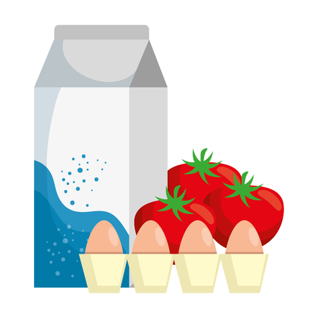milk box with tomatoes and eggs vector illustration design