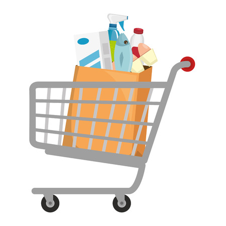 shopping cart with supermarket products vector illustration design Banque d'images - 115013744