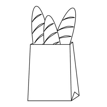 shopping bag with delicious breads vector illustration design