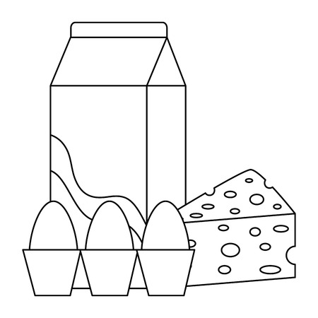 milk box with cheese and eggs vector illustration design 일러스트