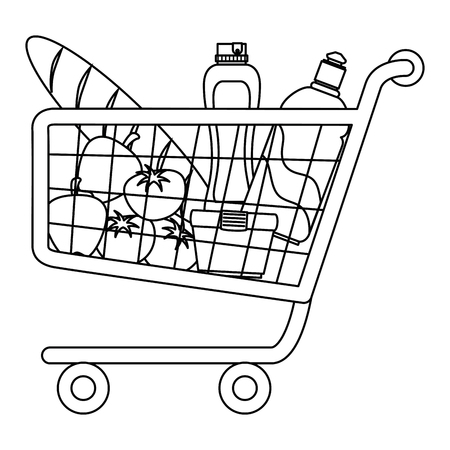 shopping cart with supermarket products vector illustration design